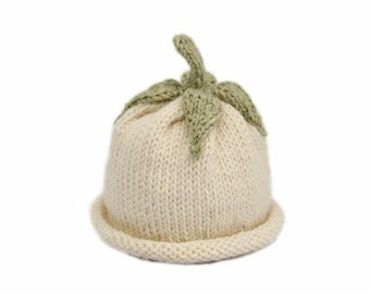 Italian Eggplant Hat for Babies - Soft Wool - Sz 3 - 6 Months - Made-to-Order