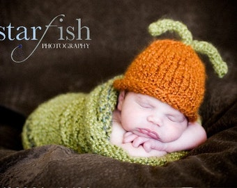 Caterpillar Hat and Cocoon - 0-3 Months -  Photography Prop - Made-to-Order