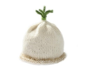 Scallion  Hat - Wool - Sz 6 - 18 Months - Onion Hat - Made to order