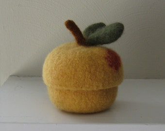 Felted Wool Michigan Peach Jar/Bowl with Removable Lid -Made-to-Order