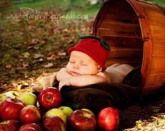 Red Delicious Apple for Babies - Soft Cotton Blend - 0-3 Months - In Stock - Ready to Ship