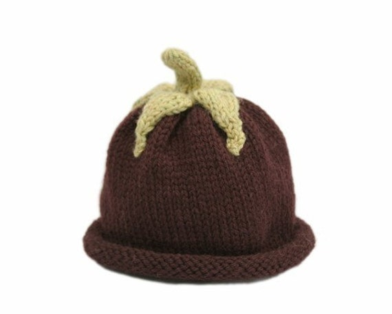 Aubergine /Eggplant Hat for Babies - 3-6 Months - In Stock - Ready to Ship