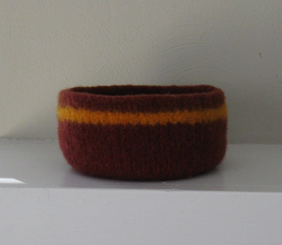 Felted Wool Bowl in Dark Clay with Maize Stripe - In Stock - Ready to Ship