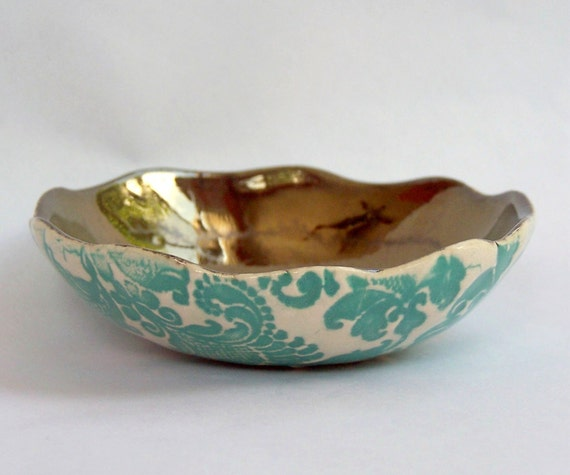 Hand Built Bronze and Aqua Tapestry Bowl