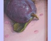 plum fruit painting TREASURY item PLUM on PINK polka dots original ooak still life painting