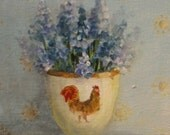 reserved for Rebecca DESPOSIT Egg Cup painting with grape hyacinth muscari and rooster original ooak still life FREE usa shipping