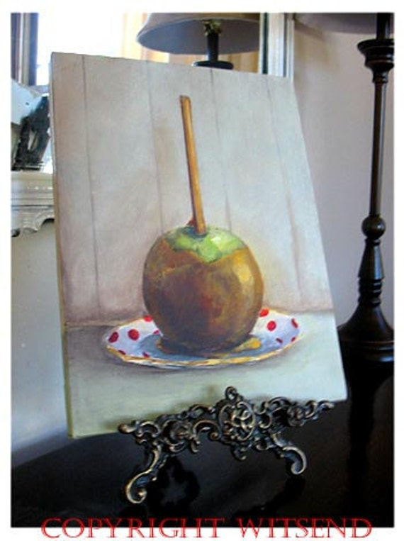TAFFY APPLE painting candy ooak original canvas still life painting Treasury Item Halloween treat dessert