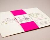 Modern NYC Skyline Bellyband Invitation Suite