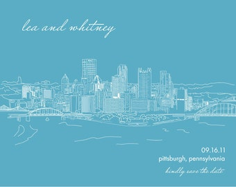 Custom city skyline for save the date, poster, wedding invitation, itinerary card digitally illustrated - Digital File or Printed