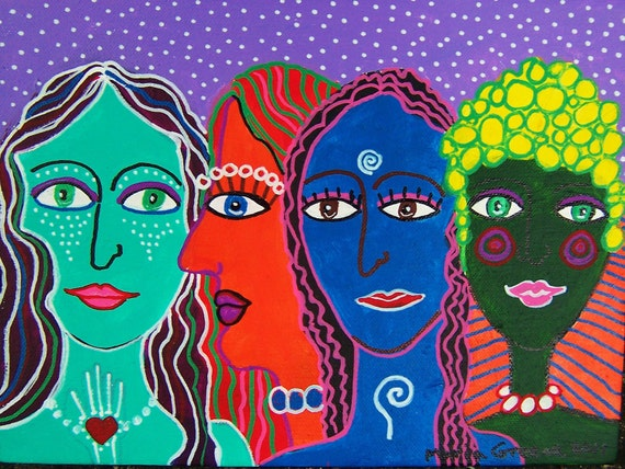 Sisterhood 8, art, original acrylic painting on canvas