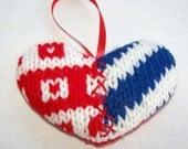 hand knit patriotic heart ornament