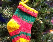 Miniature knitted stocking Christmas ornament gift holder