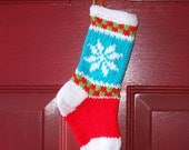Small Christmas fair isle stocking with modern colors