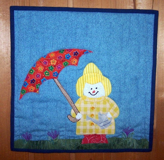 April Showers snowman gardener wall hanging