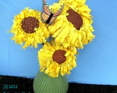 Sunflowers with a Monarch Butterfly