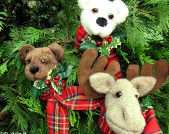 PDF Pattern, Primitive Pattern, Primitive Bear,  Moose, Plant Pokes, Christmas Ornament