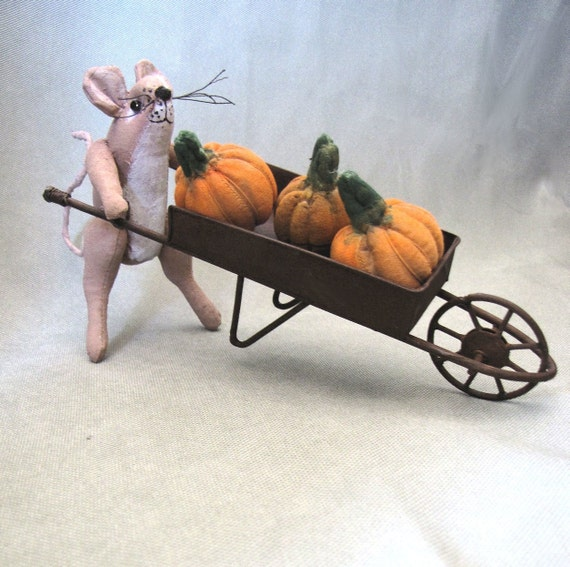 Mouse, Pumpkin, Wheelbarrow, Fall, Mice