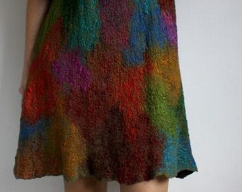 Furher SALE, nunofelt nunofelted merino silk cotton dress, felted, special occasion, size M, OOAK
