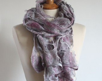SALE, Felt Scarf, Felted Scarf, Merino Scarf Silver Grey and Pink Wool Distressed Women Shawl Naturally Dyed with plants