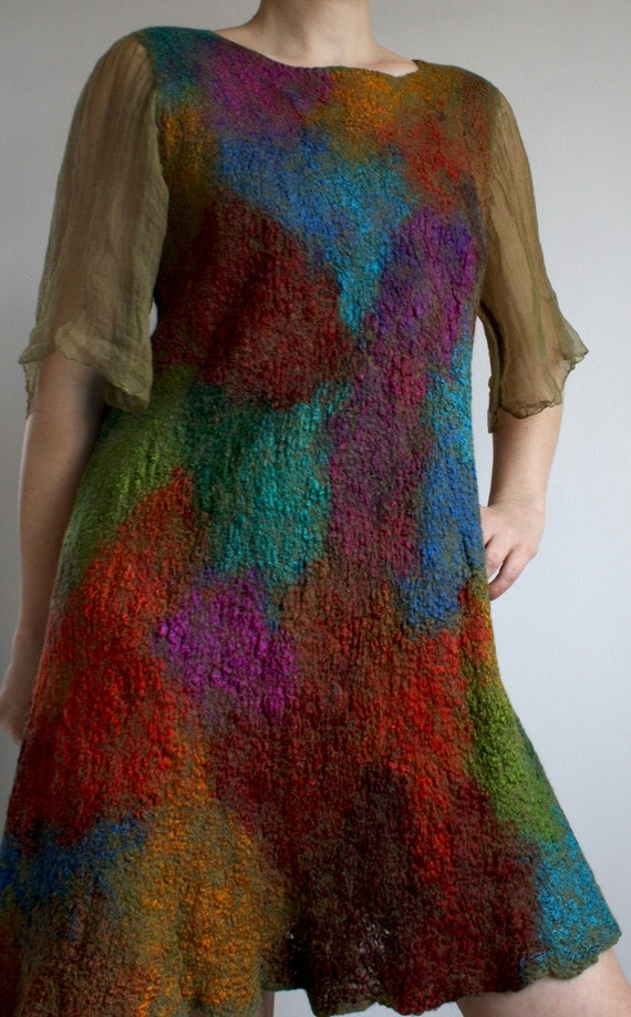 Furher SALE, nunofelt nunofelted merino silk cotton dress, felted, special occasion, size M, OOAK