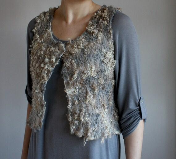 SALE, Grey Vest, Gillet, handmade felt  vest from natural fibres, ooak