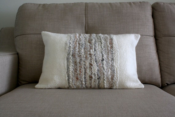 Felted Wool Cushion, Off White Natural Fibre Decorative Pillow