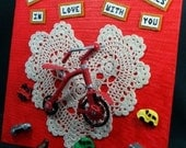 Valentines Day Tricycle Wheels Lace heart Valentine Head over Wheels in love Original mixed media  8 by 8 in