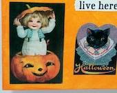Little Witches Vintage art Halloween pumpkins Original Halloween mixed media art 8 by 8