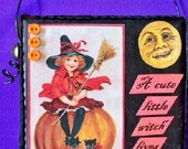 Young witch, vintage Halloween card,original mixed media, 4 by 4 inches