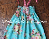 LuluBelle's Couture Boutique Shabby Halter Sundress Size 24mos - 3T (4T as a top)