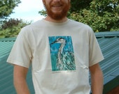 BARGAIN Price  Organic Cotton T-shirt with Great Blue heron Linocut image silk-screened on shirt front