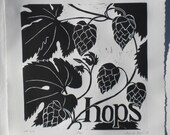 Hops handprinted Linocut Blockprint for those who love their hops 12 inch square image