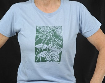 HALF PRICE--Size Small Ladies Dragonfly T-shirt (Hand-carved Linocut Image) organic cotton