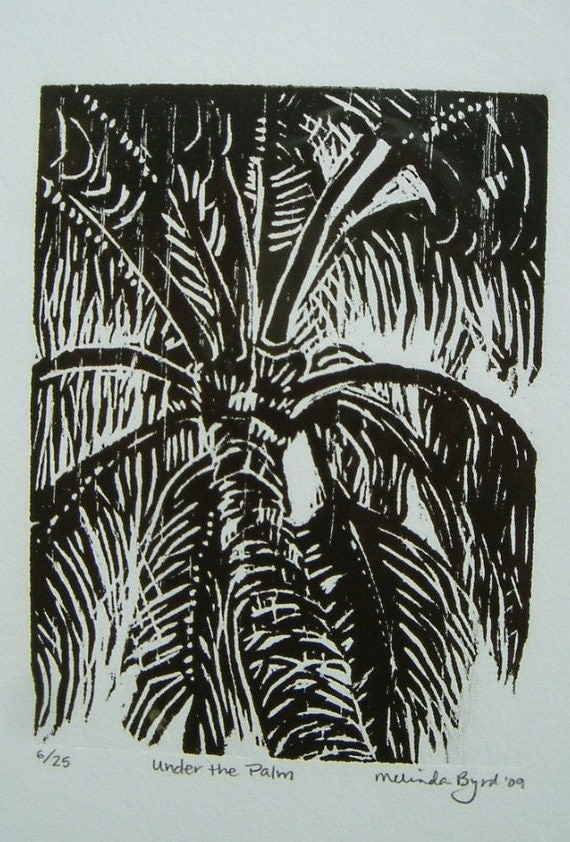Woodcut Print of Palm Tree called Under the Palm carved in Red Oak and handprinted by Melinda Byrd