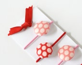 Free Shipping - Set of Four - Ponytail Holder -  Red & Pink Polkadot Buttons