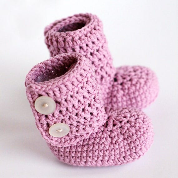 Custom, Choose Your Color - Baby Ankle Boots - Crochet - size 6-12 months