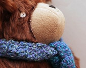 Handmade plush chestnut brown bear toy with luxury wool scarf