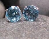 Blue Topaz, Sterling Silver Stud Earrings. AA Grade. Swiss Blue Topaz. 6mm. Ready to Ship