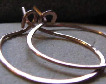 Small 14K Rose Gold Hammered Hoops