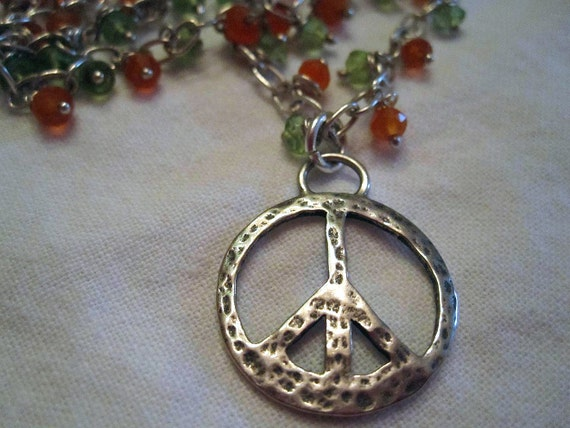 Peace Train Sterling Peridot and Carnelian Necklace