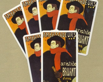 Vintage Toulouse-Lautrec Playing Cards for ATCs, Collage, Scrapbooking, Paper Arts, Assemblage and MORE