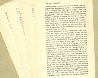 "Antique French J.J. Rousseau ""Les Confessions""  Book Pages - Assorted Set of 4 pages PSS 0796"
