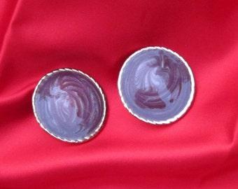Enamel Earrings Pierced Large Vintage Violet Swirl Enamel Earrings with Round Gold Tone Border PSS 0811