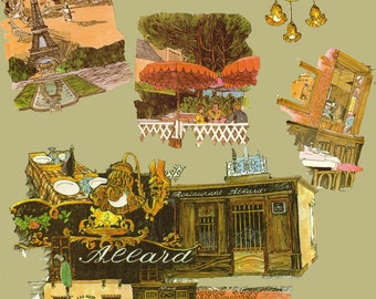 Chez Allard Paris Bistro Illustrations to use in your Journal, Paper Arts, Collage, Scrapbooking, Mixed Media and MORE