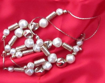 Vintage Necklace Gold Tone and Faux Pearl Long 36 Inches PSS 1011