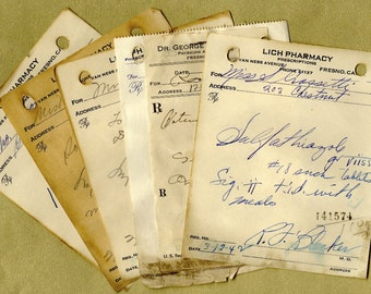 Vintage Handwritten Pharmacy Prescriptions for Collage, Paper Arts,  Mixed Media & MORE PSS 1250