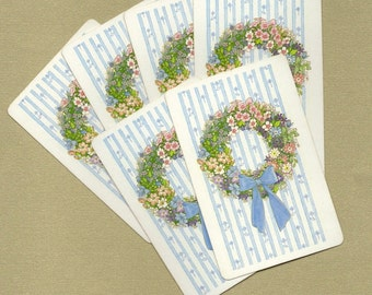 Vintage Mixed Floral Wreath Playing Cards for ATCs, Collage, Scrapbooking, Paper Arts, Assemblage and MORE