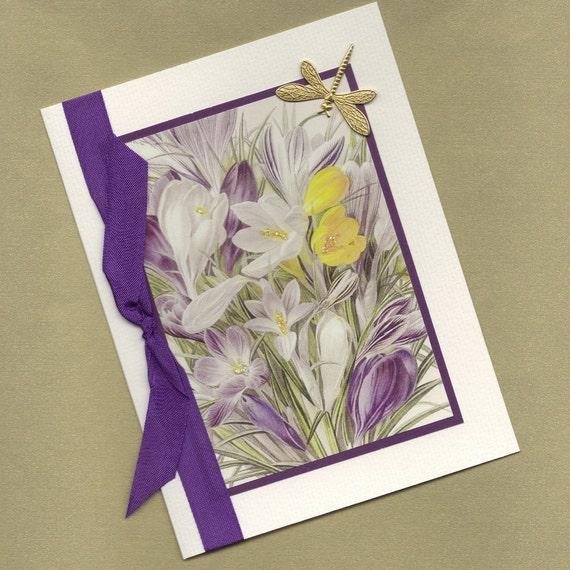 All Occasion Greeting Card An Elegant Crocus Bouquet - Handmade