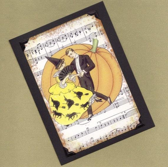 Greeting Card Handmade A Dancing Halloween Couple Handmade Greeting Card