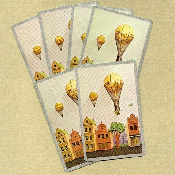 Vintage Victorian Hot Air Balloon Playing Cards for ATCs, Collage, Scrapbooking, Paper Arts, Assemblage and MORE